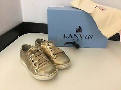 LANVIN gold Lambskin Leather Sneakers Pumps Shoes Size 27 Uk Infant 9 Rrp £205