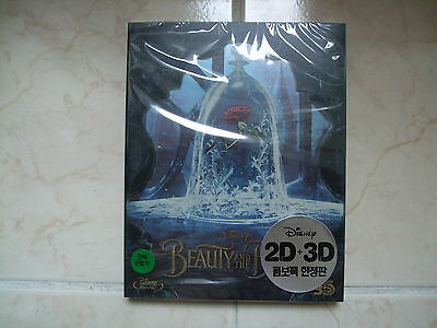Beauty And The Beast (2017, Blu-ray) 2D & 3D Combo Steelbook w/ PET Slip Case