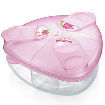 MAM Baby 3 Compartment Infant Milk Powder Storage Dispenser Snack Box-Pink