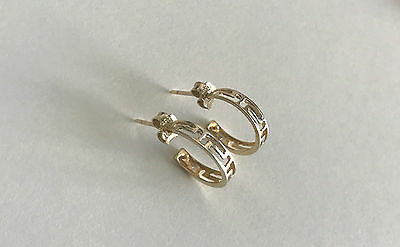 14ct Yellow Gold Earrings, Genuine, Greek Key Design, Small Hoops, With Pouch