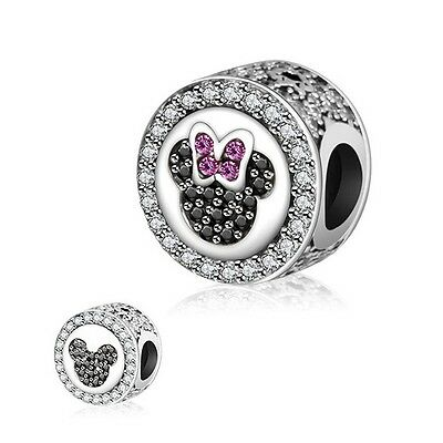 925 Sterling Silver EURO Charm Sparkling Mickey Minnie Mouse Icon Button CZ Pave