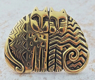 VINTAGE LAUREL BURCH  1980s Gold-tone and Black Kindred Cats Brooch Pin~Signed