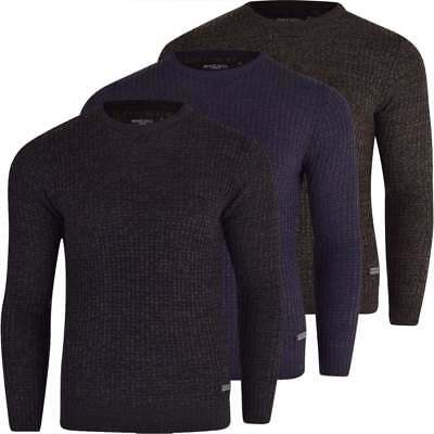 Brave Soul Men's Crew Neck Knitted Jumper Pullover Sweater Smart Casual Knitwear