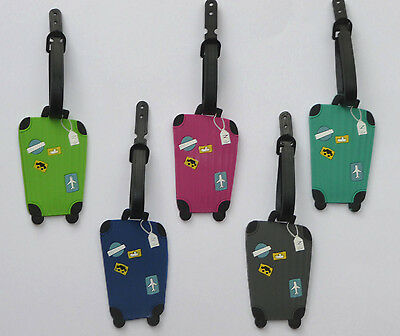 Luggage Labels Tags Suitcase Shaped Holiday Travel Rubber 5 designs Cute NEW