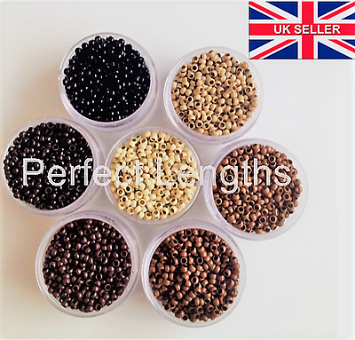 200 Silicone lined Nano tip hair extension ring beads, 5 Colours available
