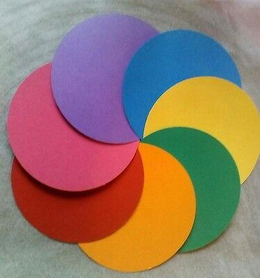 Die Cut Card Circles Discs 10Cms Dia. 7 Bright Shades Crafts Toppers Kids Office