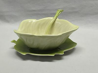 Carlton Ware Hand painted Australian Design Cabbage 3 Piece Condiment Server