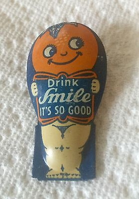 Drink Smile It's So Good Antique Advertising Clicker Vintage Tin Litho Soda Toy.