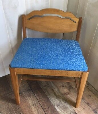 Vintage Wooden Wood Vanity Bench Piano Seat Stool Dressing Chair Blue Upholstery