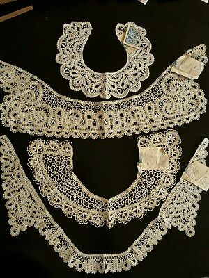 ORNATE Antique VICTORIAN STYLE  LACE COLLAR  VINTAGE WHITE