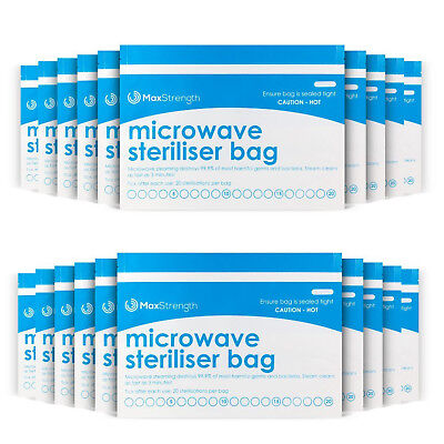 10pc Pack Microwave Steriliser Bags Baby Bottles Soothers Large Durable Steam