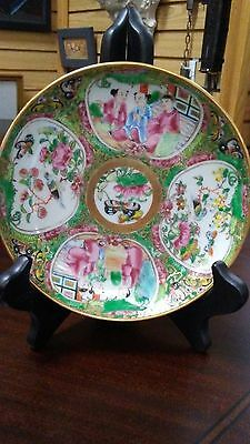 Antique Chinese Porcelain Hand Painted Raised Enamel plate / Butterfly / Bird #2