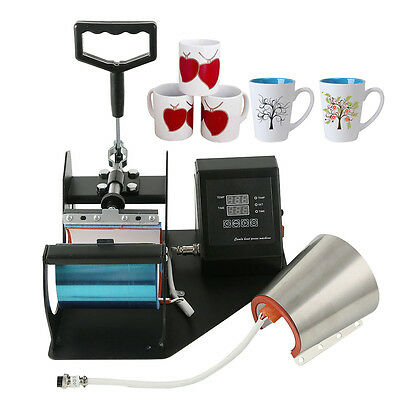 2 Attatchment Sublimation Automatic Cup Mug Heat Press Transfer Machine Timer