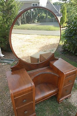 Art Deco 1940 Vintage Vanity Dressing Table, Round Mirror with Bench