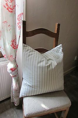 Perfectly Plumtious Vintage French Feather Filled Ticking Cushion Pillow Exc Con