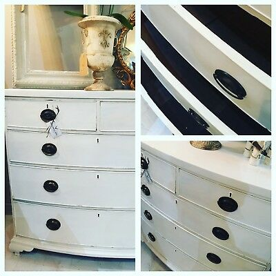 Antique Georgian Chest Of Drawers Farrow And Ball All White Shabby Chic