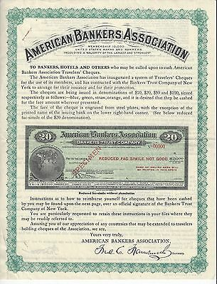 American Bankers Assoc N.y. Facimilie Folder Pre World War One Travelers Check