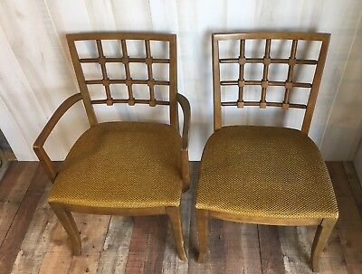 Lot Of 6 Vintage 1960's Mid Century Modern Drexel Lattice Back Dining Chairs