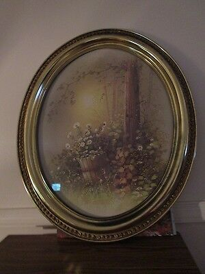 Vintage HOME INTERIOR GOLD OVAL PICTURE Woods