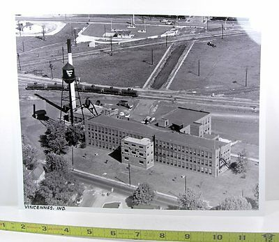 """Buster Brown Shoe Factory & Railroads - Vincennes, IN -1957 Large 11"""" Photograph"""