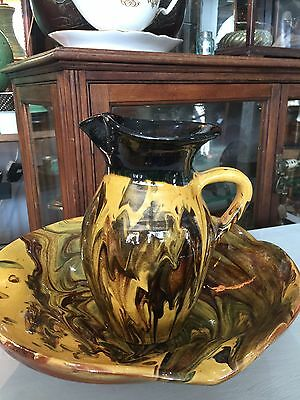 Vintage  Pottery Pitcher And Bowl Jug And Bowl