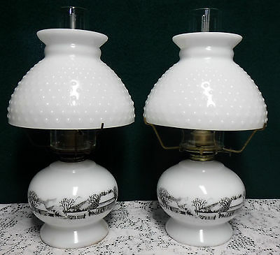 Lot of 2 Vintage Currier & Ives Oil Lamps with Whtie Milk Glass Hobnail Shades