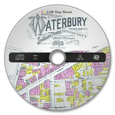 Waterbury,  Connecticut 36 Color Sanborn Maps Sheets Year 1895 on New CD