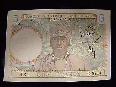 1941 FRENCH WEST AFRICA 5 FRANCS Note  -  AU+/UNC