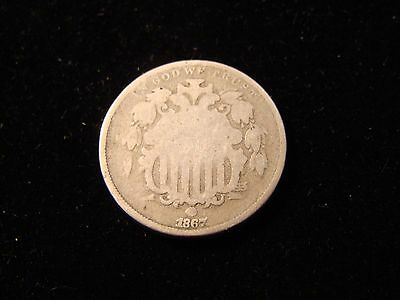 1867 SHIELD NICKEL - G  - No Rays  5c Coin