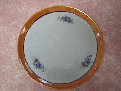 "Vintage Nippon Lusterware Hand Painted 6 1/4"" Plate With Flowers & Orange Rim"