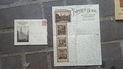 1934 Letter: The Imperial Hotel London-WWI French Battlefields. SS Canterbury