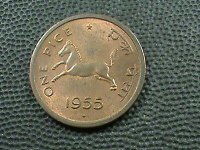 INDIA      1  Pice    1955  -  B    ,  HORSE  ,   ALMOST  UNCIRCULATED