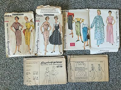Lot of 6 Lovely 1950s Women's Sewing Patterns, Simplicity sz 14 & 16.5 Dress