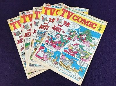 5 issues of TV COMIC from 1971 SKIPPY The Avengers TOM & JERRY Popeye ref F