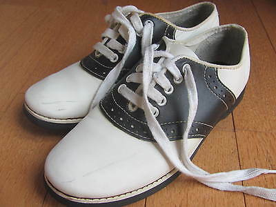 Vintage Classic Black and White Saddle Shoes Oxfords Leather upper 7.5 Medium