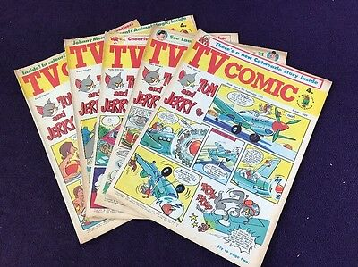 5 issues of TV COMIC from 1971 SKIPPY The Avengers TOM & JERRY Catweazle ref E