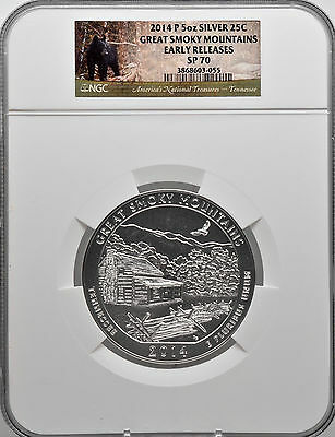 2014 P 5oz Silver 25C Great Smoky Mountains Early Releases NGC SP 70 perfect!