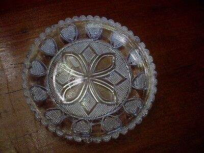 Antique Boston Sandwich Glass Cup Plate Stippled Heart 8 Pointed Geometric Motif