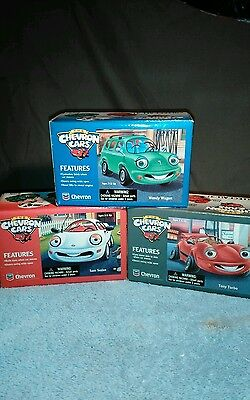 New 1996 Chevron Cars Complete Set of 3 Tony Turbo, Wendy Wagon, Sam Sedan