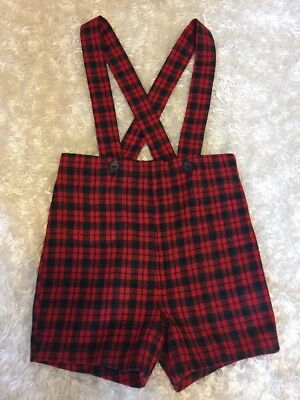 Vintage Classic Plaid Southern Merry Mites Boys Suspender Shorts Portrait Size 4