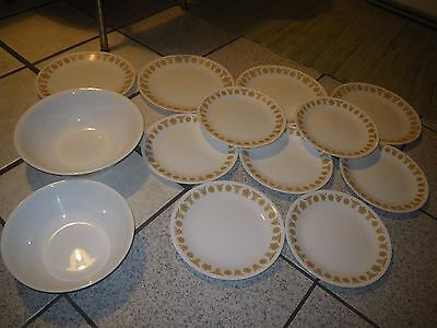 LOT 13pc Set Vin CORELLE Dinnerware Gold Butterfly Design~Plates & Serving Bowls