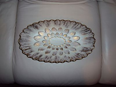 "Royal Haeger Pottery Gold Tweed Lily Flower Platter 16 1/4"" 364H"