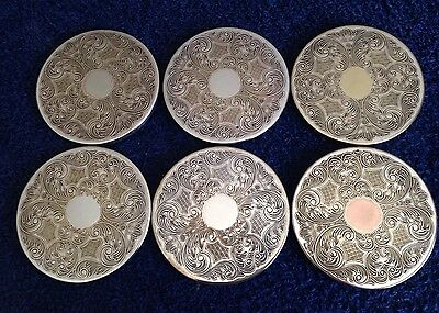 VINTAGE SILVER PLATED GLASS / DRINKS 6 COASTERS MATS SET In Good Condition