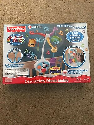Fisher-Price Brilliant Basics 2-in-1 Activity Friends Baby Mobile V4436