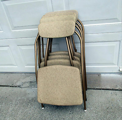 Vintage Cosco Folding Stylaire Chairs Set of 4 Mid Century Bronze Abstract