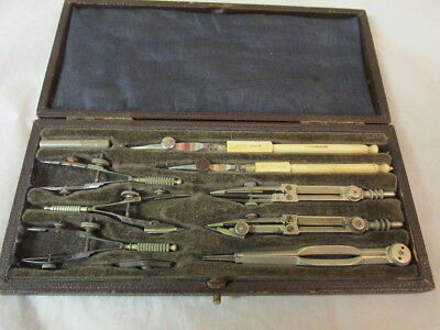 Cased Set Gpo Stanley Drawing Instruments Complete C1900