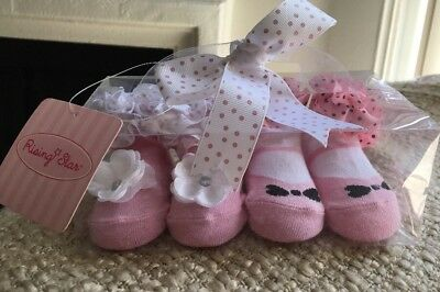 NEW!!' Baby Girl Gift Set - Age 0-12months Fancy Booties Socks Pink Ruffles