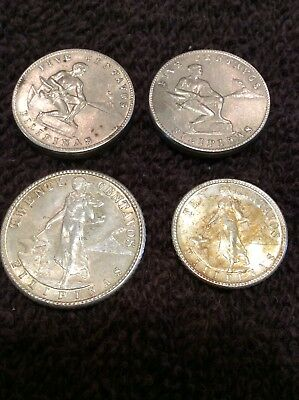 1944D 20 +10+5 (2) Centavos Coins About Uncirculated