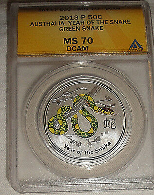 2013-P Australia 50c Year Of The Snake GREEN SNAKE MS 70 1/2oz Silver Coin
