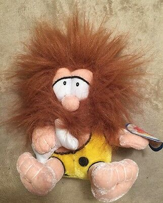 """Vintage Cave Man Plush Stuffed Doll  8"""" From Nanco With Bone *Great Gift * toy"""